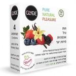 חבילת מגוון של ארבעה קונדומי גלייד בטעמי פירות